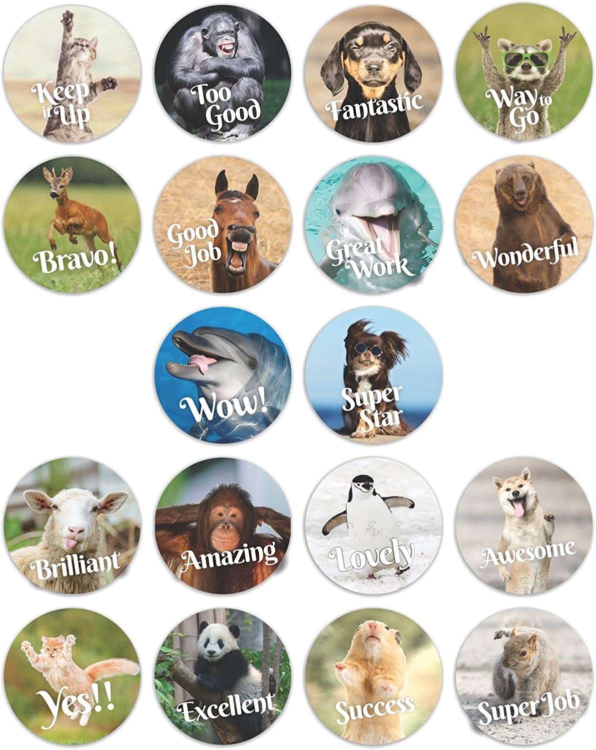 Reward and Motivational Stickers   360 Labels in Sheets   1 Inch Round Size   18 Different Fun Animal Meme Theme Designs   Recommended for All Ages and Classes
