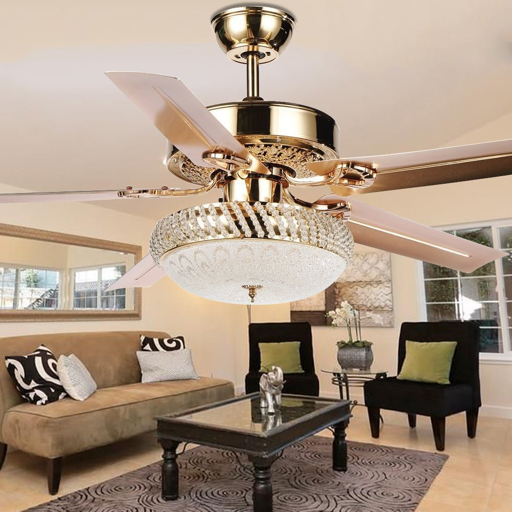 Tropicalfan Metal LED Ceiling Fan Remote Control With One Light Cover Home Decoration Indoor Living Room Dining Room Quiet Fans Chandelier 5 Reversible Blade Rose Gold 52 inch