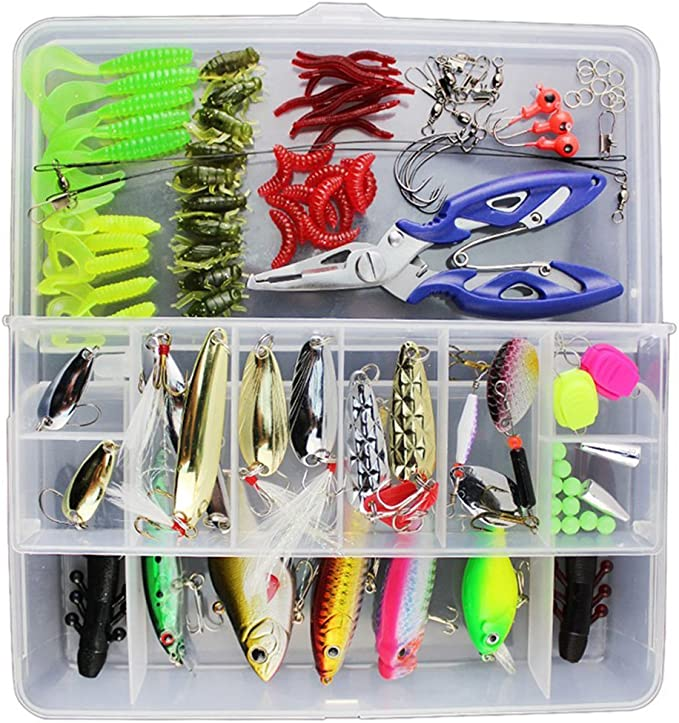 Vicloon 120 PCS Fishing Lures Mixed Including Spinners,VIB,Treble Hooks,Single Hooks,Swivels,Pliers and Tackle Box: Amazon.co.uk: Sports & Outdoors