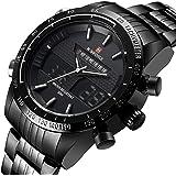 Naviforce - Reloj deportivo de cuarzo para hombre, analógico y digital, de acero completo