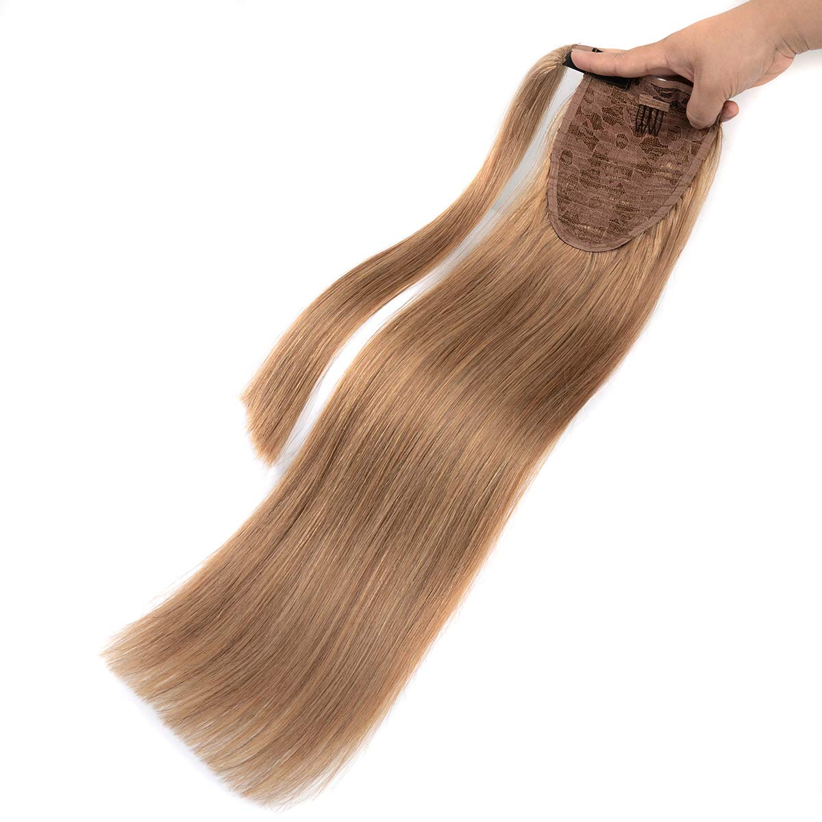 18 Inches Straight Ponytail Human Hair Extensions Natural Black Hairpiece Wrap Around Pony Tail Real Clip in Hair Extensions for Woman MRS HAIR