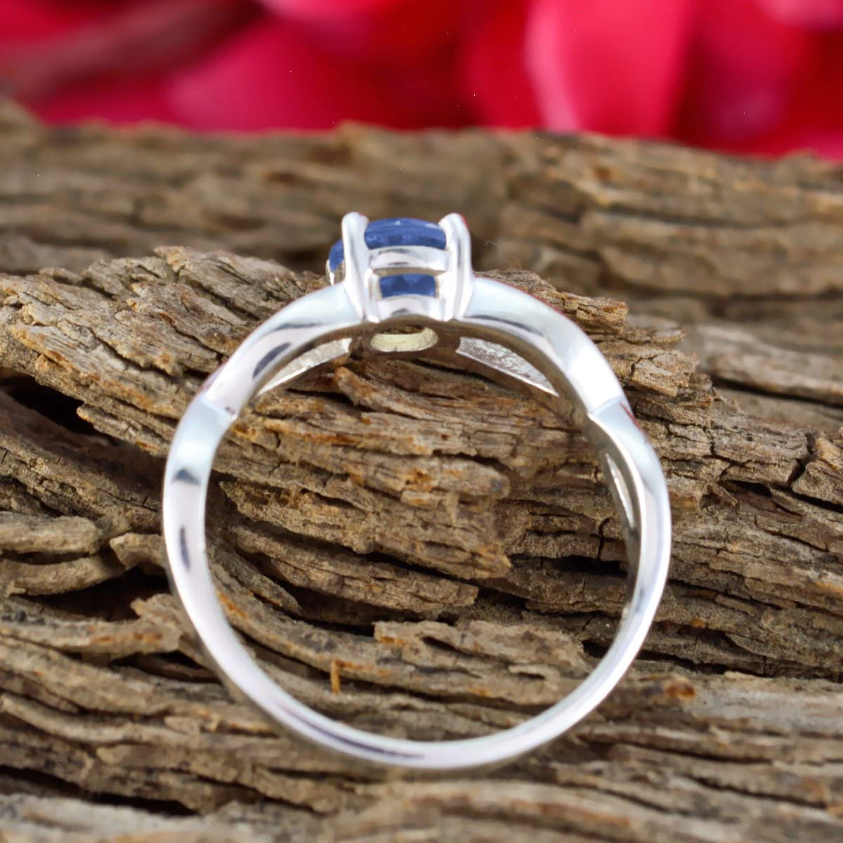 Sterling Silver Blue Iolite Natural Gemstone Ring Handmade Jewelry Most Selling Items Gift for Friend Bridesmaid Gift Natural Gemstone Round Faceted Iolite Rings