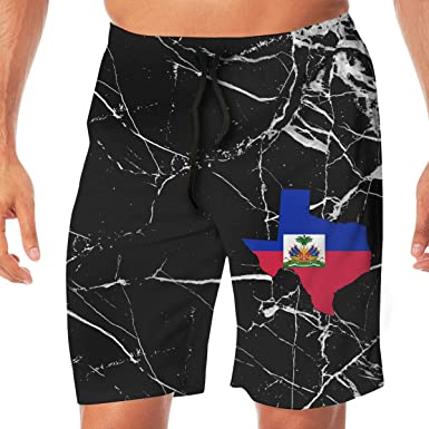 BEAQ45 Mens Summer Quick Dry Swim Trunks Texas Flag Printing Boardshort