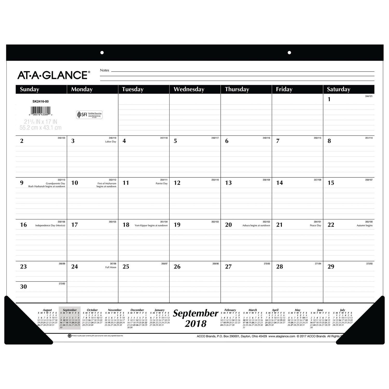AT-A-GLANCE 2018-2019 Academic Year Desk Pad Calendar, Standard, 22 x 17 (SK241600)