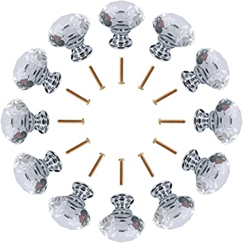 B Blesiya Pack-2 Diamond Shaped Cabinet Knobs Crystal Glass Drawer Pull Knobs Kitchen Cupboard Dresser Closet Handles Pink