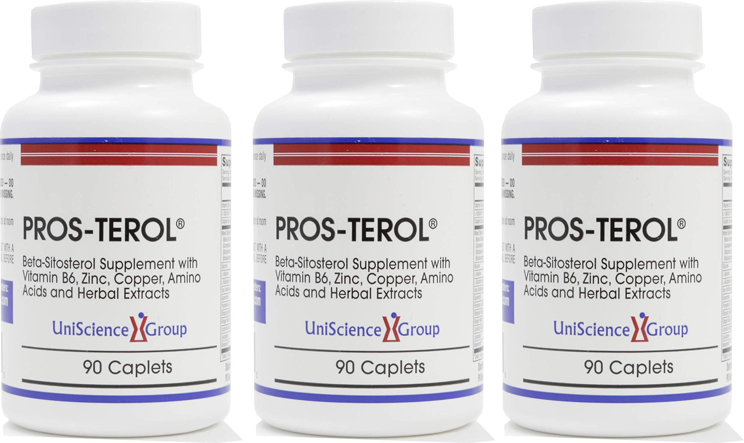 Pros-TEROL (3 bottle kit), Prostate Relief with 900 mg Plant Sterols with Pumpkin Seed, Stinging Nettle Root, Ginger Root, Licorice Root Extracts 90 Caplets by UniScience Group, Inc.