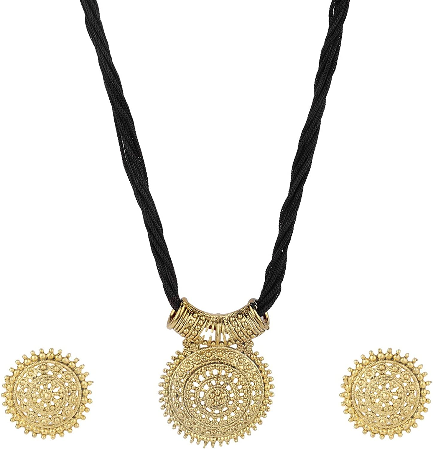 Efulgenz Indian Ethnic Bollywood Designer Necklace and Earrings Jewelry Set in Antique 18K Gold Tone for Women and Girls