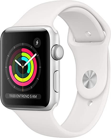 Apple Watch Series 3 (GPS) con caja de 42 mm de aluminio en plata y correa deportiva blanca: Amazon.es