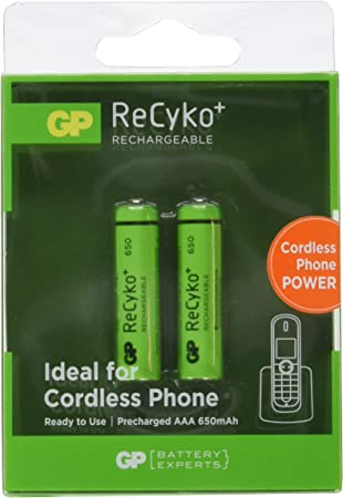 GP - Paquete de 2 pilas recargables AAA Ni-Mh (1,2 V, 650 mAh): Amazon.es: Electrónica