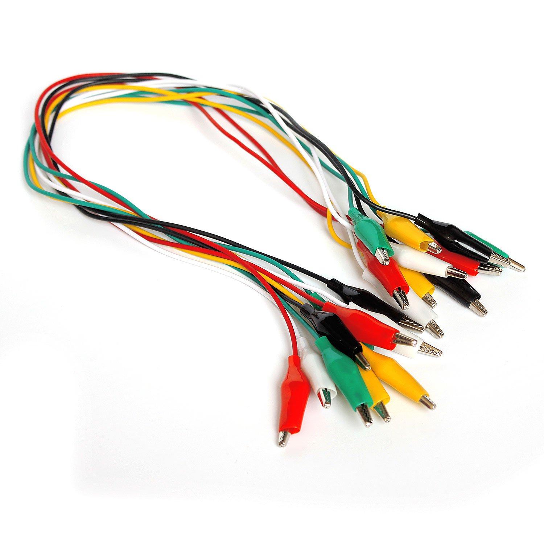 Cable de cocodrilo de Doble Prueba Aofan Pinzas de cocodrilo de Doble Extremo 10 Unidades 50 cm