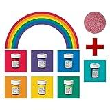 yagma Lebensmittelfarben im Spar-Set 6 x 28 g - Regenbogenmix plus BONUS: (Türkis)