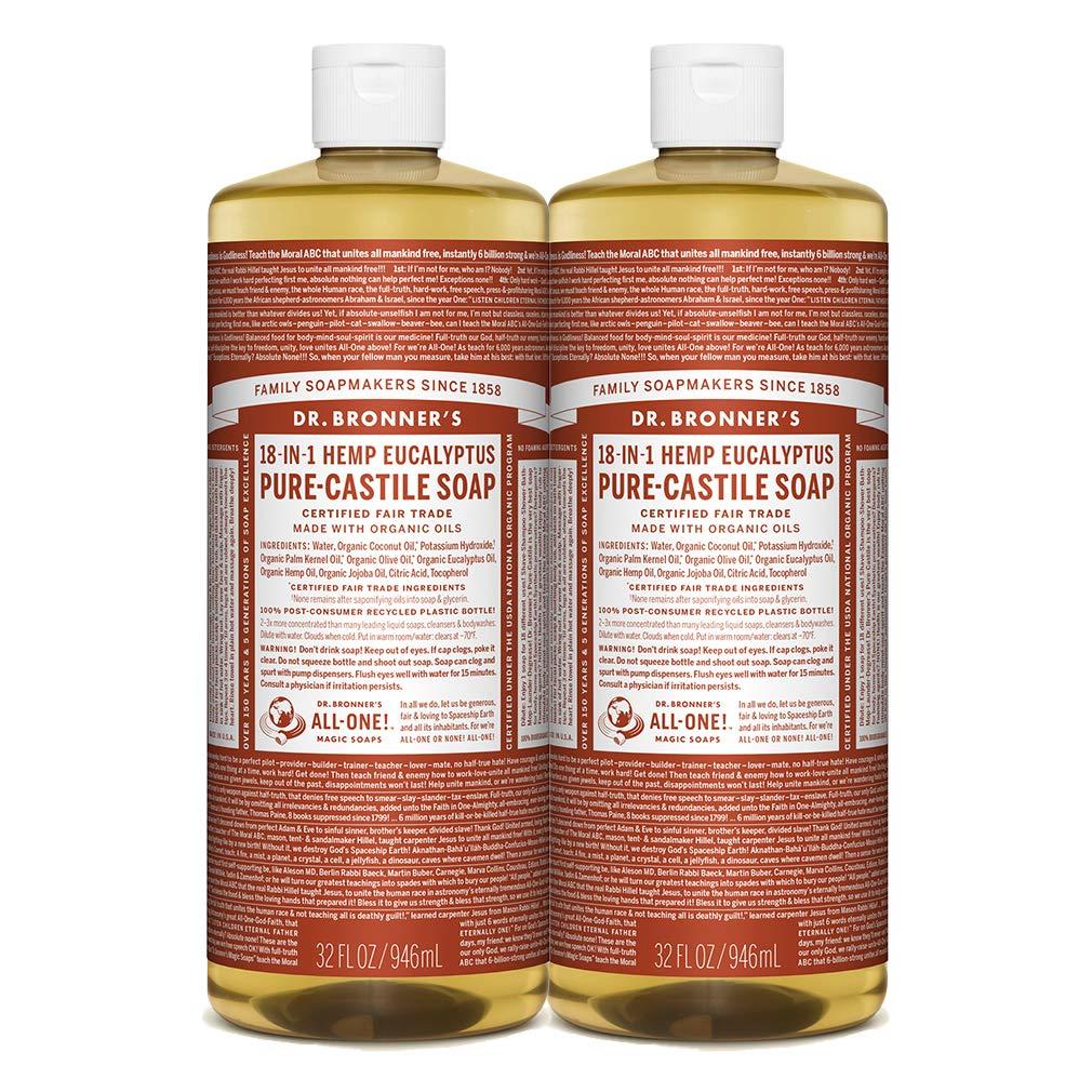 Dr. Bronner's - Pure-Castile Liquid Soap (Eucalyptus, 32 Ounce, 2-Pack)