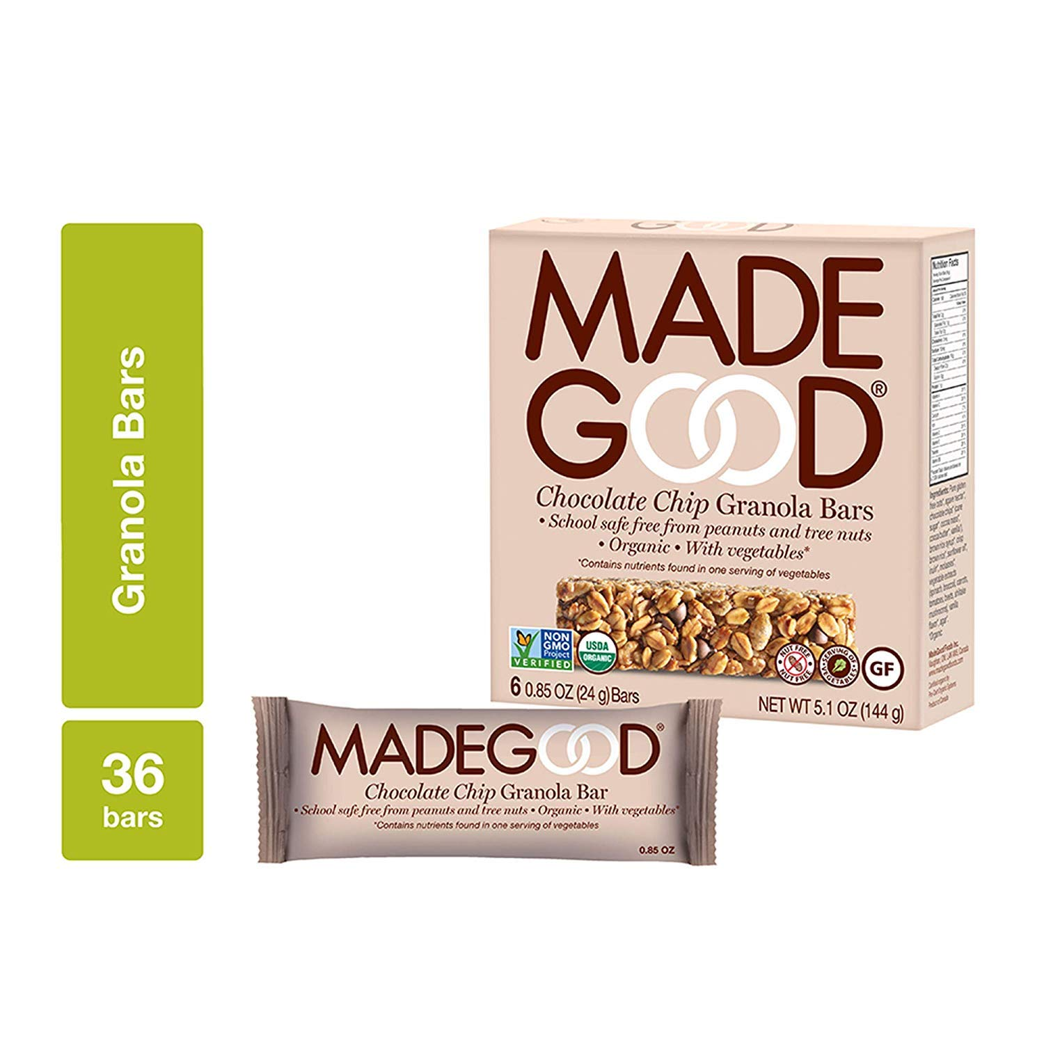 MadeGood Chocolate Chip Granola Bars, 6 Pack (36 bars); Gluten Free Oats and Delicious Chocolate Chips; Contains Nutrients of One Serving of Vegetables; Allergy-Friendly, Full of Chewy, Tasty Goodness by Made Good