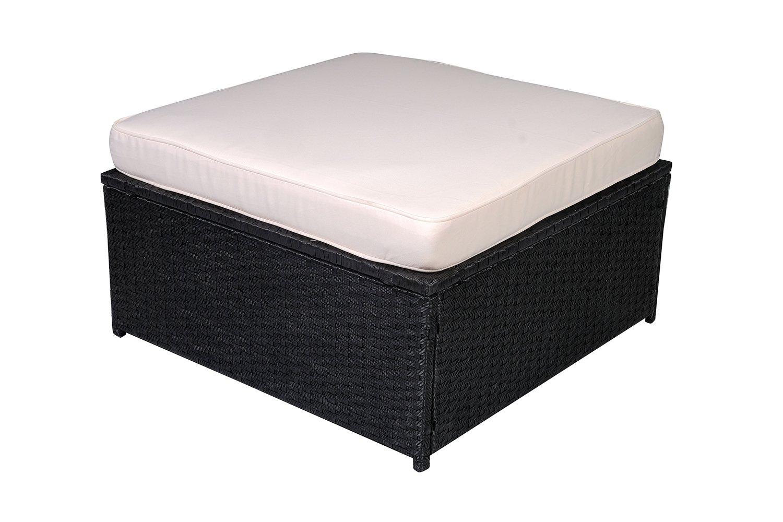 MCombo Black Wicker Patio Sectional Outdoor Sofa Furniture Set 6088-2006OT DIY (Cream White)