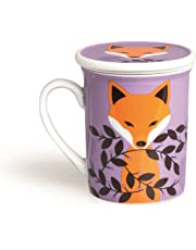 Excelsa - Taza para infusiones con Filtro y Tapa Fox, de Porcelana, Multicolor, 8x 10x 10cm