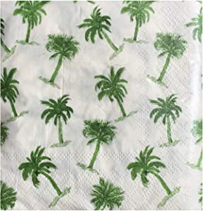 Cypress Home Coconut Palm Tree Cocktail Beverage Paper Napkins, Green, 40 ct
