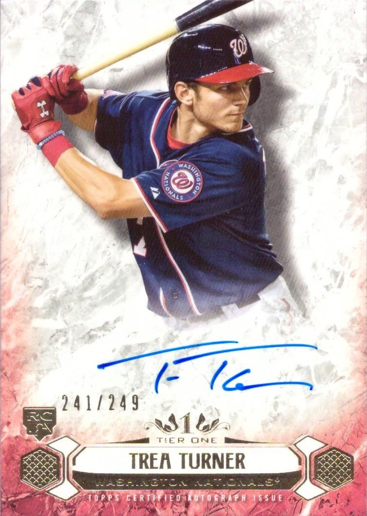Only 249 made! 2016 Topps Tier One #BOA-TTU Trea Turner Certified Autograph Baseball Rookie Card