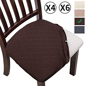 YISUN Stretch Spandex Chair Seat Covers 6 Pack - Removable Washable Anti-Dust Dining Chair Seat Protector Cushion Slipcovers - Deep Coffee