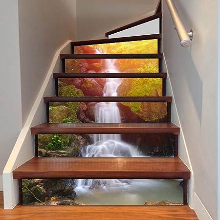 QTZS Creativa Escalera 3D Decoración Cascada Cascada Escaleras Pegatinas A Prueba De Agua 6 Unids: Amazon.es: Hogar