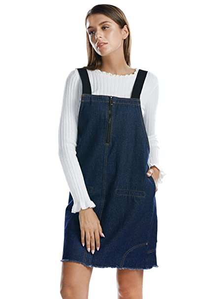 b694afdebc Image Unavailable. Image not available for. Color  BARGOOS Women Pinafore  Overall Denim Dress A Line Distressed ...