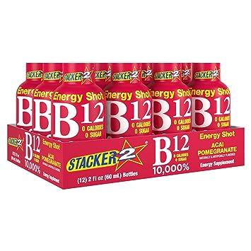 Stacker 2 B12 No Calorie Zero Sugar Energy & Vitamin Shots 2 Fl  Oz  (Pack  Of 12) Acai Pomegranate