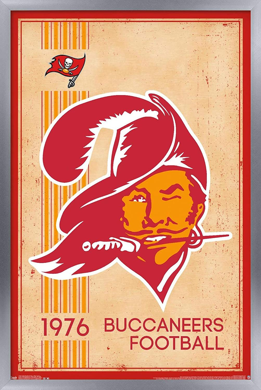 """Trends International NFL Tampa Bay Buccaneers - Retro Logo 14 Wall Poster, 22.375"""" x 34"""", Silver Framed Version"""