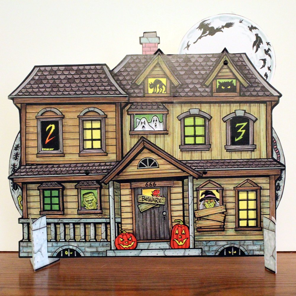 B016C3L6XI Halloween Countdown Advent Calendar - Haunted House with spinning wheels to change the date 71eD9-Vy3zL