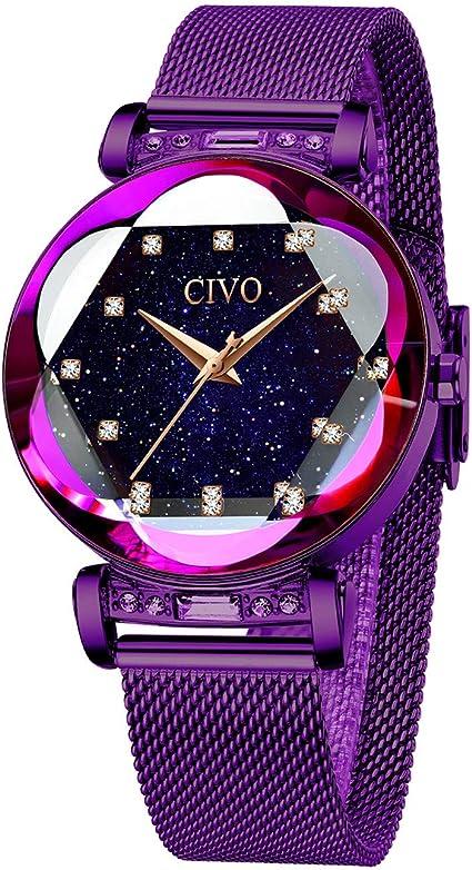 CIVO Relojes Mujer Púrpura Reloj de Pulsera para Mujer ...