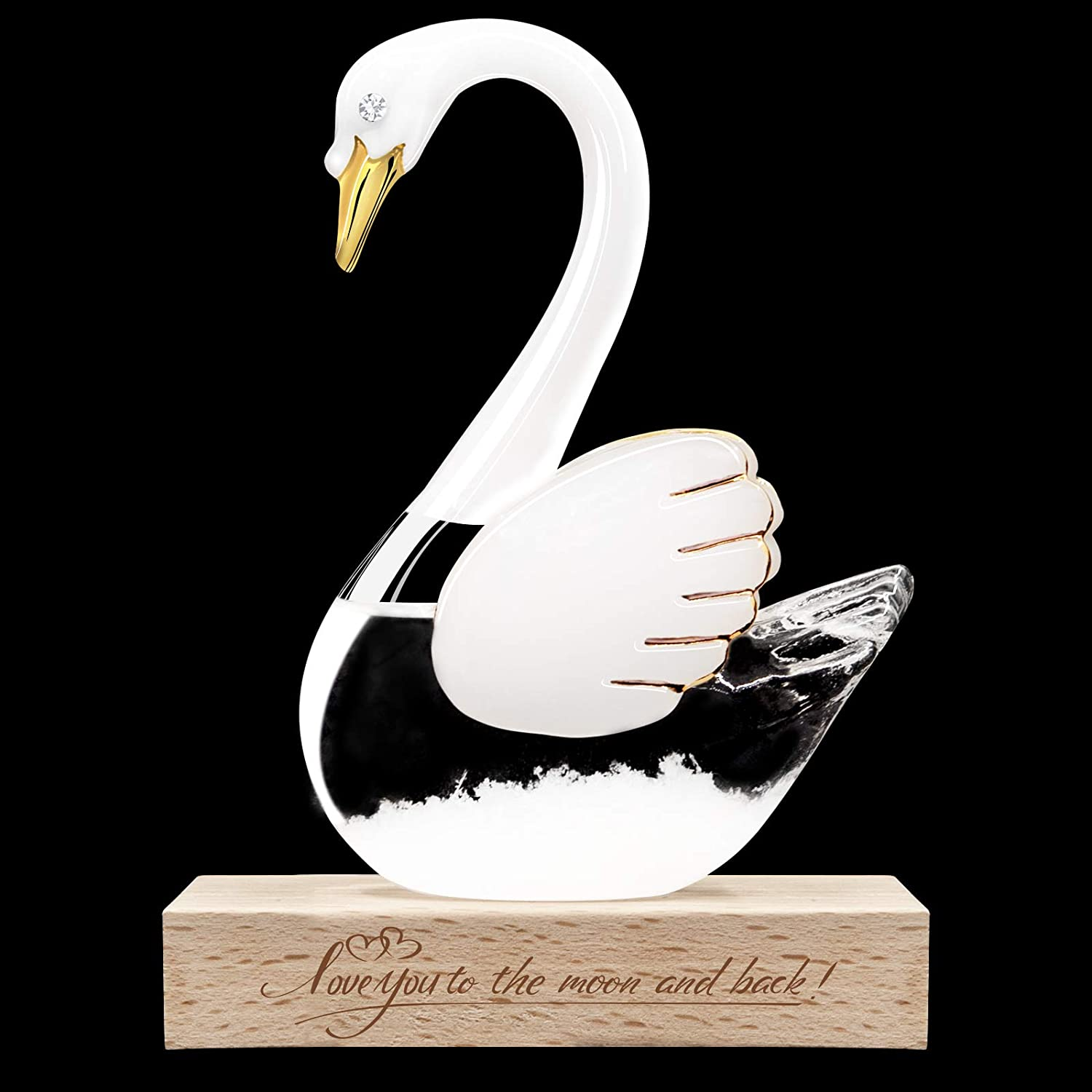 Storm Glass Weather Predictor Barometer - Birthday Anniversary Christmas Gift White Swan Lake Shaped Forecaster Weather Sation for Kids Wife Girlfriend Home Office Decor