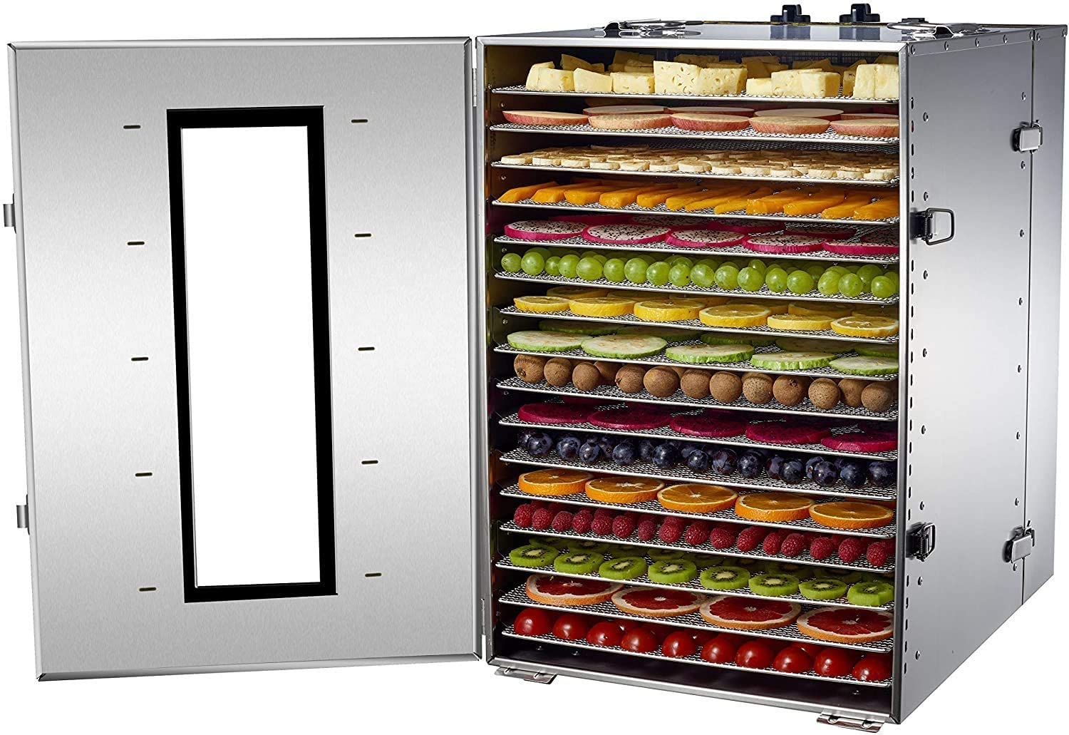 NJTFHU Large Commercial Food Dehydrator 16 Trays Food Dryer Stainless Steel 100-200F Temperature Control Adjustable 15 Hour Timer for Jerky, Herb, Meat, Beef, Fruit and Vegetables