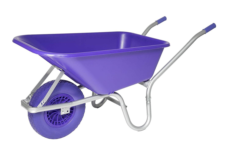 Purple Heavy Duty 110L Equestrian Garden Builders Plastic Wheelbarrow with Puncture Proof Tyre