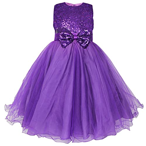 YiZYiF Girls Flower Sequined Dress Sleeveless Formal Party Wedding Bridesmaid Christening Dresses Ages 2-14
