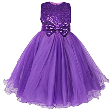 FEESHOW Kids Girls Sequined Party Wedding Dress Pageant Communion Princess Bowknot Party Clothing Purple 13-