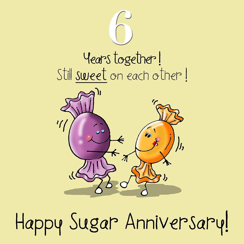 BNSDNE 6th wedding anniversary gift 6th Wedding Anniversary Greetings Card Sugar Anniversary