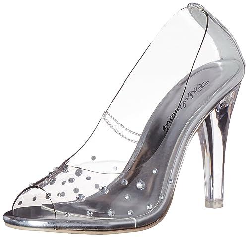 Espectaculares zapatos transparentes con tacón transparente y pedrería.