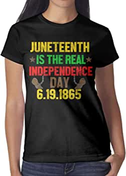 Womens Happy Juneteenth Day Flag T Shirt Short Sleeve Crew Neck Solid Casual Top