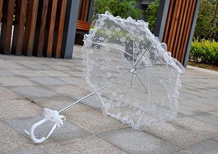 THUNFER Paraguas De Encaje Paraguas Suministros De Boda Paño De Algodón Hecho A Mano Creativo Paraguas