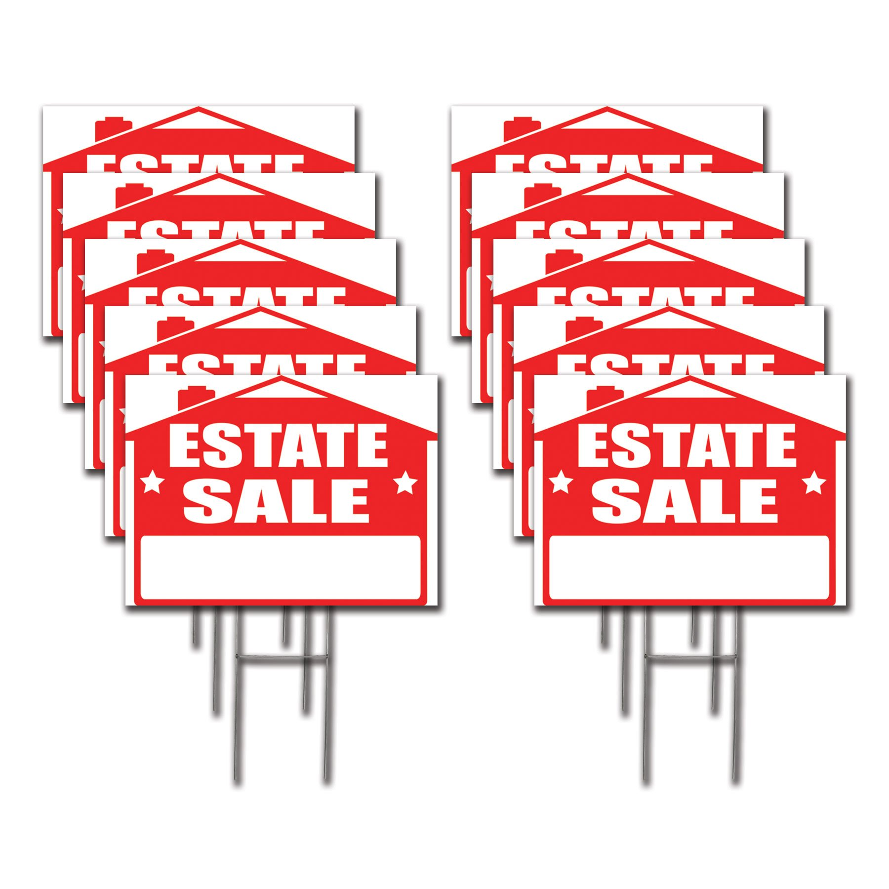 10 Pack Estate Sale Lawn Sign Kit with  Giant Arrow Stickers (10)