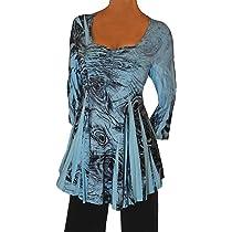 8e35ab54f2d621 ... Funfash Plus Size Women Slimming A Line Rhinestones Blue Black Top Shirt  Blouse