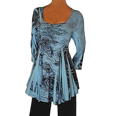 f41a8bdde81f Funfash RB09 Plus Size Women A Line Empire Waist Blue Black Top Shirt Blouse  XL