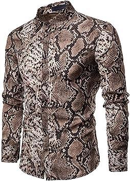SFHK Manga Larga Camisa Serpiente Estampada para Hombre,Metallic,XXL: Amazon.es: Deportes y aire libre