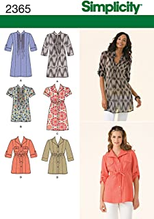 product image for Simplicity Pattern 2365 Misses Tunic in Two Lengths with Front Variations Sizes 6-8-10-12-14