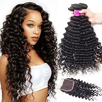 Home Recool Hair Deep Wave 4 Bundles With Closure Brazilian Hair Weave Bundles Natural Color Remy Human Hair Bundles With Closure