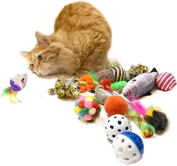 PietyPet Juguetes para Gatos 28 Piezas, Juguete Interactivo Varita Retráctil con Gatos Ratón, Bolas Campanas, Plumas Cabezas de Repuesto Catnip Ball Juguetes Gatos para Kitty Mascota Gato Juguetes: Amazon.es: Productos para mascotas