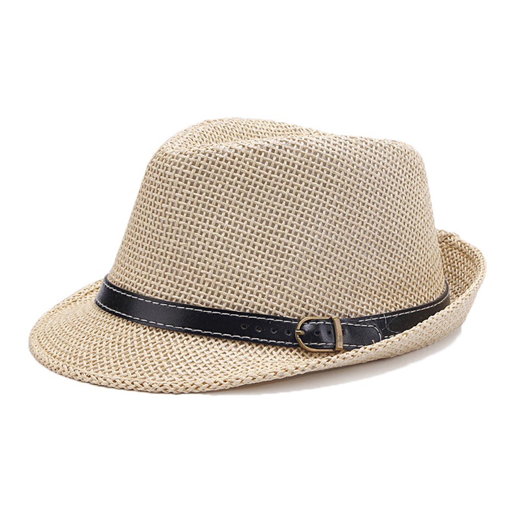 doublebulls hats C-Crown Trilby Panama Hat Men Boys Straw Summer Hat
