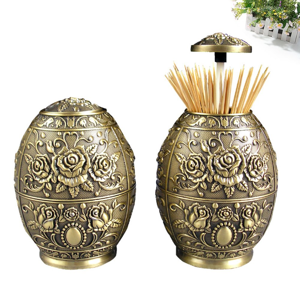 European-style pressing style toothpick automatic toothpick box fashion creative living room toothpick barrel-G by Wang's