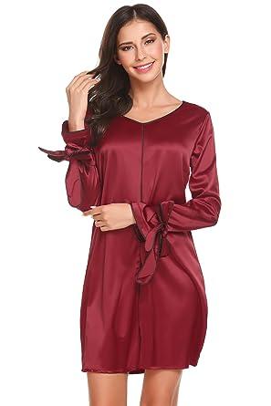 7bb9d7181e Adome Women Satin Nightdress Long Sleeve Nightshirt Jersey Nightgown  Sleepwear (Red