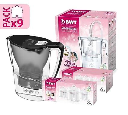 BWT Penguin Electrónica – Jarra filtradora de agua con magnesio + Pack 9 filtros jarra de