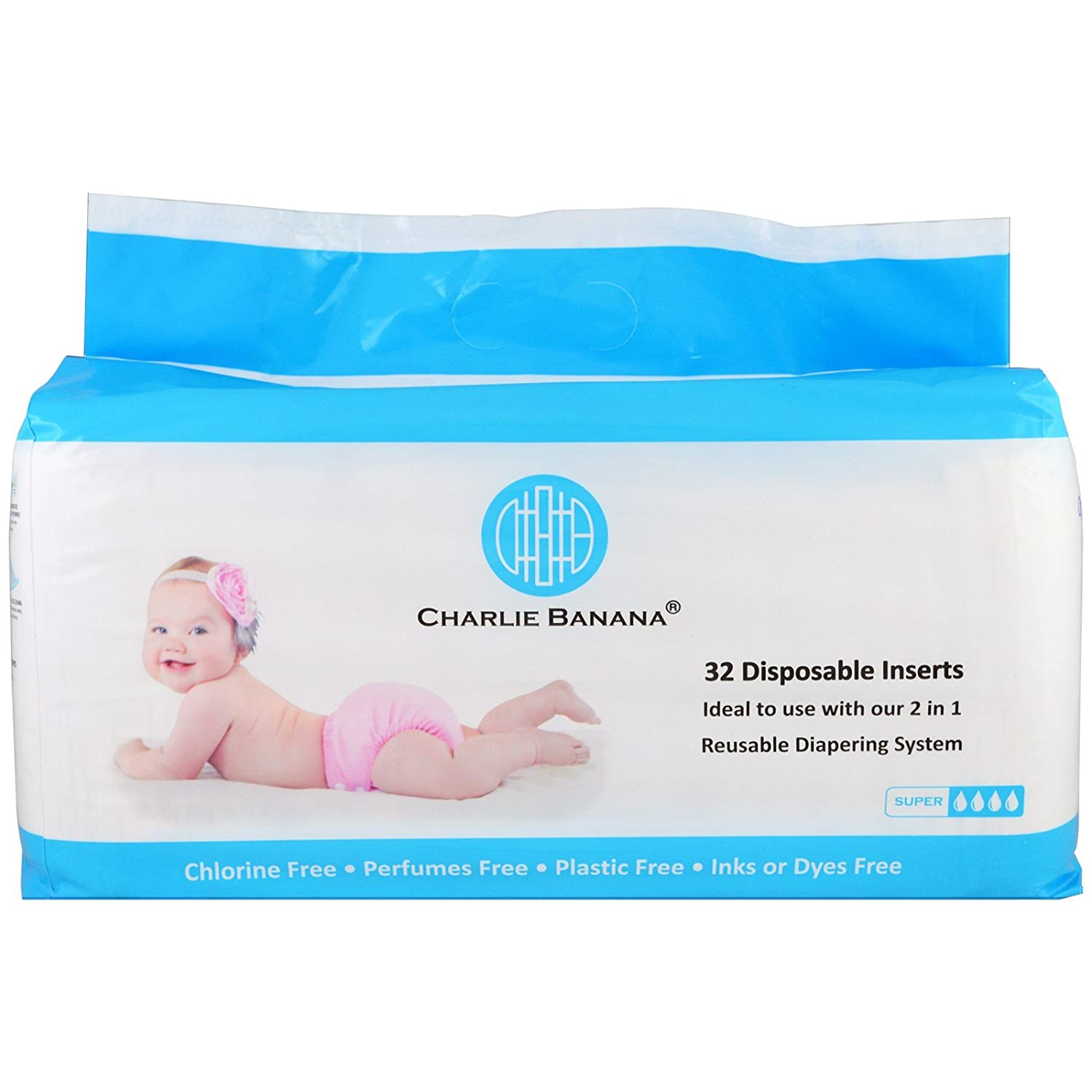 Amazon.com: Charlie Banana Disposable Inserts Reusable Diapering System 32 Inserts: Health & Personal Care