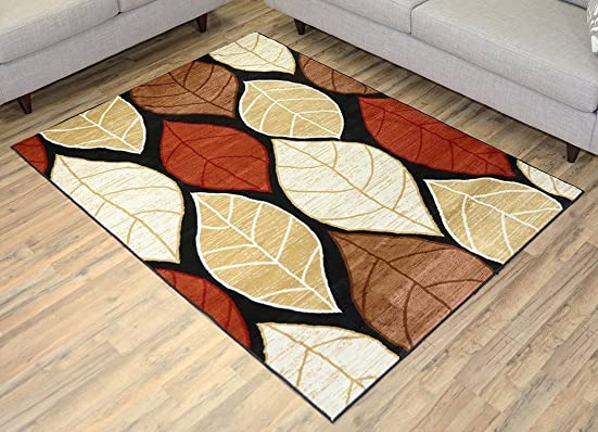 RugStylesOnline Studio Collection Leaves Black Contemporary Design Area Rug, Multi Color, 4 11 x 6 11